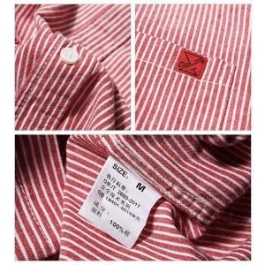 (ハバー) Habor カジュアルシャツ メンズ 七分袖 ボタンアップ シャツ トップス ストライプ 開襟シャツ 綿 L liberty-online