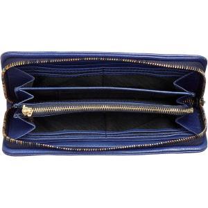 ソラチナ ラウンドファスナーロングウォレット イタリアンレザー袋縫い ブルー
