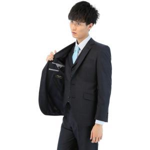 タカキュー m.f.editorial ストレッチ ウィンドーペン ネイビー 3ピース スーツ 1....