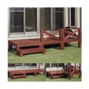 ウッドテラス ガーデンファニチャー天然木 ウッドデッキフルセット 縁台 オープンデッキ |liberty