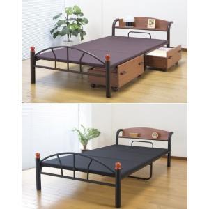 ベッド 宮付パイプベッド セミダブル /棚つきベッド|liberty
