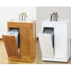 分別ごみ箱 ペールストッカー2分別 家具調木製キッチンゴミ箱 タイル付|liberty