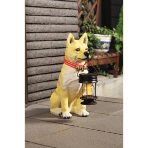 玄関置物  ソーラーライト付柴犬 ポチ|liberty