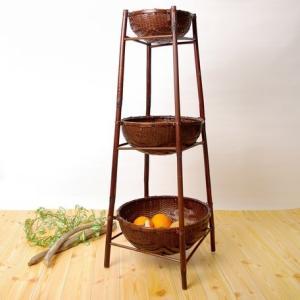 バンブースタンドバスケット3段 アジアン家具/マルチラック liberty