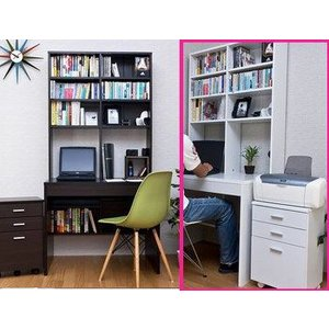 処分特価 机 上下棚付デスク90幅 ラック付きパソコンデスク ロング本棚|liberty