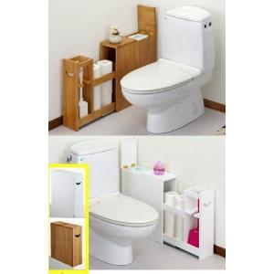 トイレラック薄型 収納用品 ブラウン/ホワイト|liberty