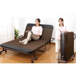折りたたみベット 立ち座り楽ちん折り畳みリクライニングベッド セミダブル /14段階リクライニング 付き添い|liberty