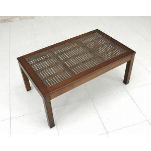 センターテーブル75幅/バンブーローテーブル/ガラステーブル/リビングテーブル アジアン家具  liberty