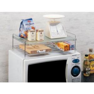 レンジ上ラック 強化ガラス製 キッチン収納 調味料ラック|liberty