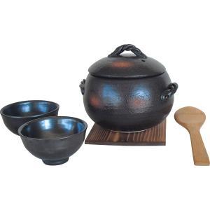 萬古焼 栗型 三合ご飯鍋 ばんこやきどなべ 土鍋|liberty