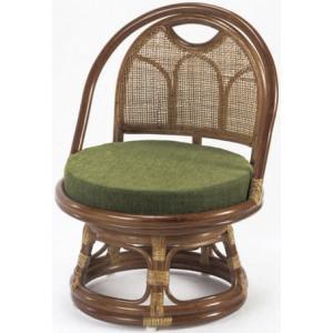 ラタン回転座椅子ロータイプ らくらく背もたれ付き籐高座椅子/座敷いす/ラクラクチェアー  |liberty