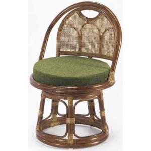 ラタン回転座椅子ミドルタイプ らくらく背もたれ付き籐高座椅子/座敷いす/ラクラクチェアー  |liberty