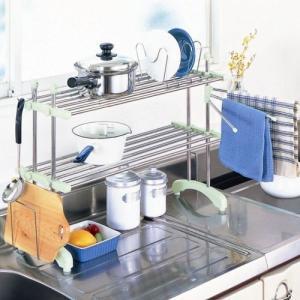 キッチンラック きらきらシェルフ キッチン伸縮棚 2段タイプ キッチン収納 鍋おき |liberty