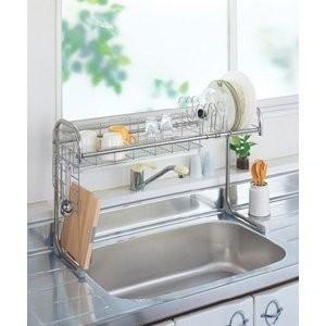 水切りラック キッチン シンク上水切り収納ラック 伸縮タイプ |liberty
