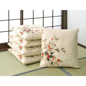 座布団カバー 5枚組セット 千両  日本製和風ざぶとんカバー両面プリント 綿つむぎ 業務用にも