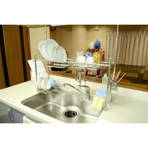 水切りラック ワイドL つっぱりキッチン シンク上水切り収納 水切りかご/伸縮タイプ|liberty