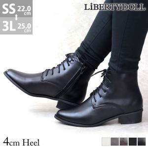 ショートブーツ レディース レースアップ 履きやすい サイドジップ 3cmヒール 袴 卒業式 対象商...