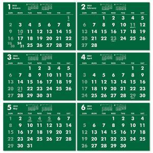 2020年ポストカードサイズ卓上カレンダー(グリーン&ホワイト)12冊から名入れ無料 壁掛けも可|librorianet|04