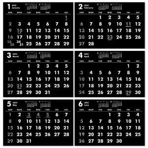 2020年ポストカードサイズ卓上カレンダー(ブラック&ホワイト)12冊から名入れ無料 壁掛けも可|librorianet|04