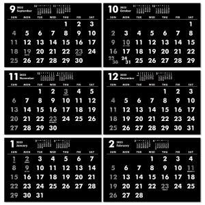 2019年9月始まりポストカードサイズ卓上カレンダー(ブラック&ホワイト) librorianet 04