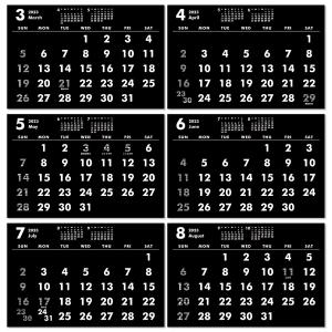 2019年9月始まりポストカードサイズ卓上カレンダー(ブラック&ホワイト) librorianet 05