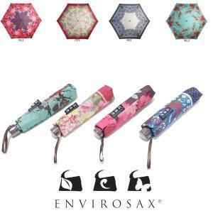 折りたたみ傘 エンビロサックス レディース 軽量 晴雨兼用 小型 コンパクトENVIROSAX 撥水加工 UVカット 遮光 カジュアル 50cm 花柄 フラワー かわいい 日傘|licept