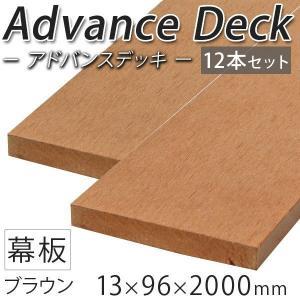 ウッドデッキ 人工木材 DIY 材料 アドバンスデッキ 12本セット 13×96×2000mm ブラウン (2.8kg/1本) 幕板 無垢材 樹脂デッキ|liebe