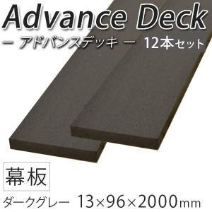 ウッドデッキ 人工木材 DIY 材料 アドバンスデッキ 12本セット 13×96×2000mm ダークグレー (2.8kg/1本) 幕板 無垢材 樹脂デッキ|liebe