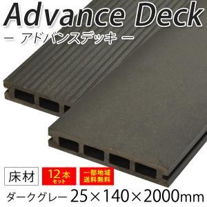 ウッドデッキ 人工木材 DIY 材料 アドバンスデッキ 12本セット 25×140×2000mm ダークグレー (5.0kg/1本) 床材 面材 中空材 樹脂デッキ|liebe
