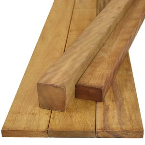 ウッドデッキ イタウバ マットグロッソ DIY 材料 38×45×1200mm (2.0kg) フェンス 枠材 デッキ材 天然木|liebe