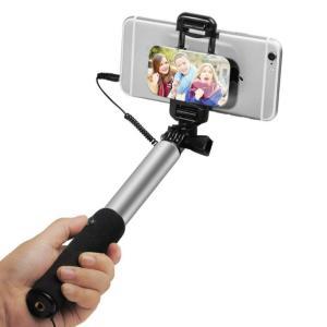 スマホ 自撮り棒 有線 iphone対応 セルカ棒 ミラー搭載 伸縮自在 インスタ SNSに|life-mart