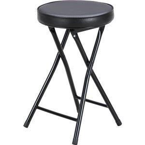 ds-981528 折りたたみ椅子/スツール(フォールディングチェアー) 丸型 BK ブラック(黒) (ds981528)|lifeis