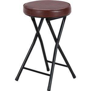 ds-981529 折りたたみ椅子/スツール(フォールディングチェアー) 丸型 BK/BR ブラック(黒)&ブラウン (ds981529)|lifeis