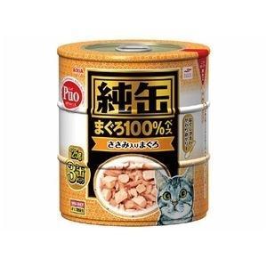 ds-1626794 (まとめ)アイシア 純缶 ささみ入りまぐろ125g×3P 【猫用・フード】【ペット用品】【×18セット】 (ds1626794)|lifeis