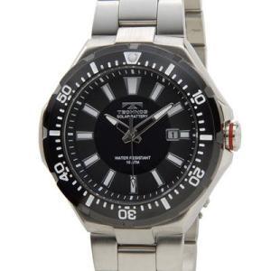 Technos テクノス T2415SB ソーラーバッテリー デイト 10気圧防水 ブラック×シルバー メンズ 腕時計 lifeis