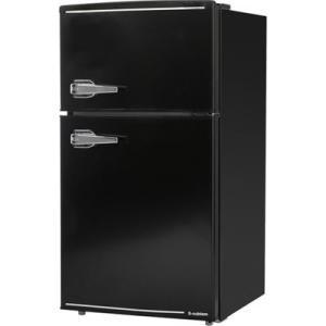 エスキュービズム WRD-2090K 85L 2ドア レトロ 冷蔵庫 (ブラック) (WRD2090K)|lifeis