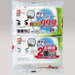 レック 4903320043107 【3個セット】 激落ちくん 流せる 除菌 トイレクリーナー 24枚入×2個(トイレ 掃除 シート 銀イオン 消臭 丈夫 日本製)|lifeis