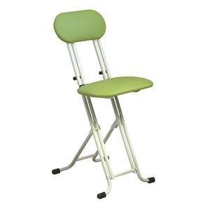 ds-2154297 シンプル 折りたたみ椅子 【グリーン×ミルキーホワイト 幅330mm】 スチールパイプ 『ニューベストホビーチェア』【代引不可】 (ds2154297)|lifeis