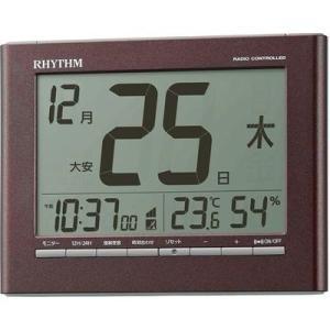 リズム時計 8RZ208SR06 電波時計 目覚まし時計 電子音アラーム 温度 湿度 カレンダー ライト付き フィットウェーブカレンダーD208(ブラウン)|lifeis