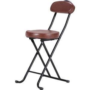 ds-981535 クッション付き折りたたみ椅子/スリムチェアー スチール 背もたれ付き BK/BR ブラック(黒)&ブラウン 【4個セット】【代引不可】|lifeis