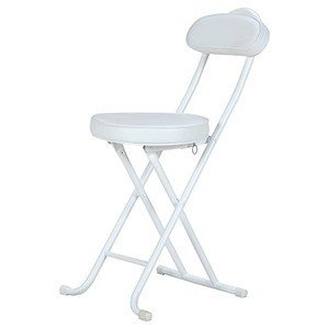 ds-2257819 折りたたみ椅子/スリムチェア 【ホワイト】 スチール クッション付き 背もたれ付き 【4個セット】 (ds2257819)|lifeis