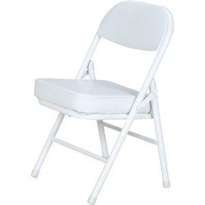 ds-2257823 背もたれ付き ミニチェア/折りたたみ椅子 【ホワイト×ホワイト】 スチール 合成皮革 コンパクト 【6個セット】【代引不可】 (ds2257823)|lifeis