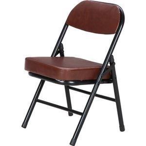 ds-2257824 背もたれ付き ミニチェア/折りたたみ椅子 【ブラック×ブラウン】 スチール 合成皮革 コンパクト 【6個セット】 (ds2257824)|lifeis