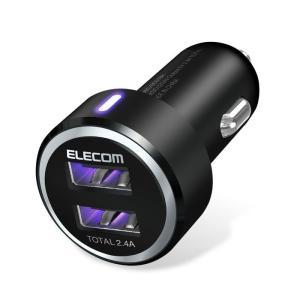 エレコム EC-DC01BK シガーチャージャー/2USBポート(自動識別)/2.4A/ブラック (ECDC01BK)|lifeis