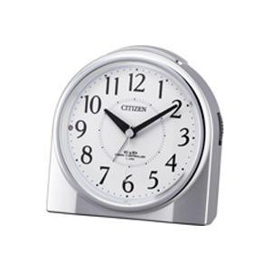 リズム時計 4RL432-019 シチズン 電波時計 目覚まし時計 暗所自動点灯ライト 電子音アラーム ネムリーナリング(シルバーメタリック) (4RL432019)|lifeis
