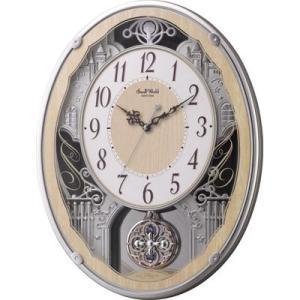 リズム時計 4MN538RH23 電波時計 掛け時計 30曲入り クリスタル飾り振り子付き スモールワールドクラッセ(木目仕上げ)|lifeis