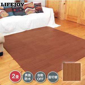 ホットカーペット フローリング調 2畳 176cm×176cm 防水 暖房面切替機能 ブラウン LI...