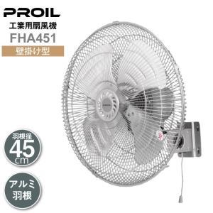 工場扇 工場扇風機 アルミ 壁掛け 羽根径45cm 風量3段階 風量調節ひも付 左右首振り グレー 工業扇 工業用扇風機 PROIL 送料無料 FHA450|lifejoy