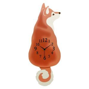 柴犬振り子時計 犬 壁掛け時計 オフィス おしゃれ バラ 北欧 アメリカン雑貨 かわいい インテリア時計 ギフト G-1189B|lifemaru