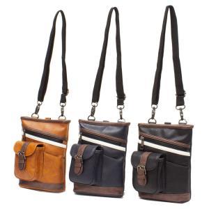 2WAY 合皮ショルダーバッグ/チョークバッグ メンズ  全3色 カジュアル bag134 紳士 コンパクト 収納 おしゃれ ikomaks|lifemaru